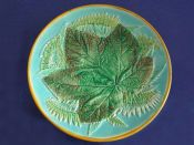 Rare George Jones Majolica 'Leaf and Fern' Low Comport - Turquoise Ground c1871
